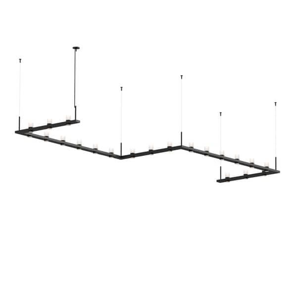 Sonneman Lighting Intervals 21-light Satin Black LED Zig Zag Pendant, Clear Etched Cylinder Shade. Opens flyout.