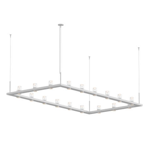 Sonneman Lighting Intervals 18-light Satin White LED Rectangle Pendant, Clear w/ Etched Cone Shade