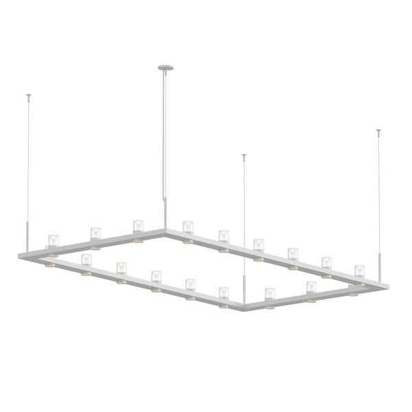 Sonneman Lighting Intervals 18-light Satin White LED Rectangle Pendant, Clear w/ Etched Cone Shade. Opens flyout.