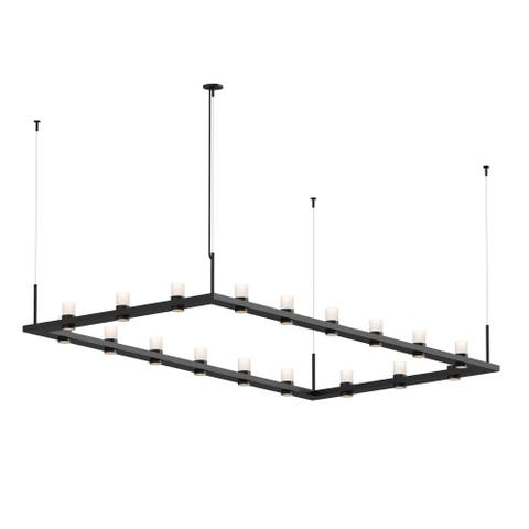 Sonneman Lighting Intervals 18-light Satin Black LED Rectangle Pendant, Clear Etched Cylinder Shade
