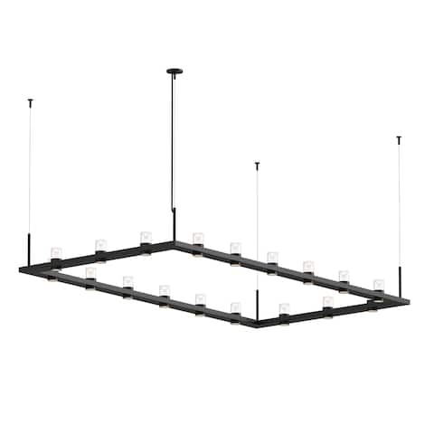 Sonneman Lighting Intervals 18-light Satin Black LED Rectangle Pendant, Clear w/ Etched Cone Shade
