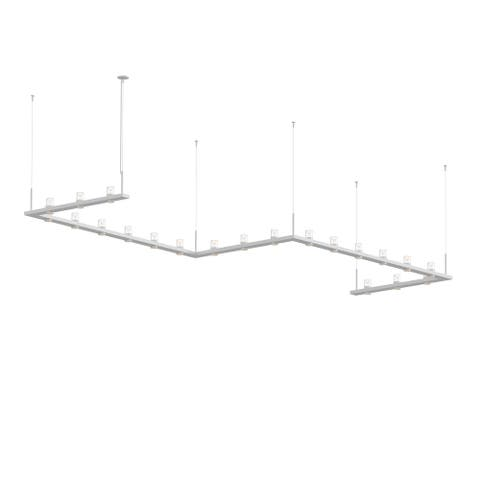 Sonneman Lighting Intervals 21-light Satin White LED Zig Zag Pendant, Clear w/ Etched Cone Shade