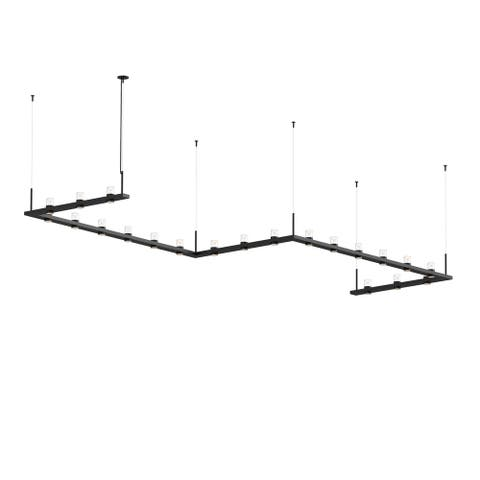 Sonneman Lighting Intervals 21-light Satin Black LED Zig Zag Pendant, Clear w/ Etched Cone Shade