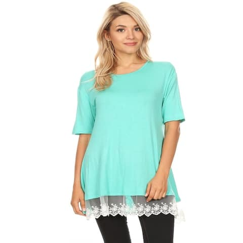 Women's Casual Loose Fit Top with Lace Trim Accent