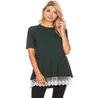 Link to Women's Casual Loose Fit Top with Lace Trim Accent Similar Items in Tops