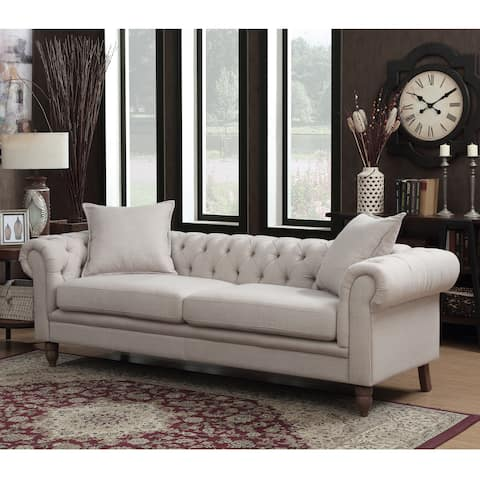 Gracewood Hollow Renault Small Tufted Beige Linen Fabric Sofa