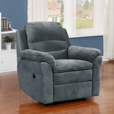 Copper Grove Dark Grey Polyester Power Recliner with lumbar massage
