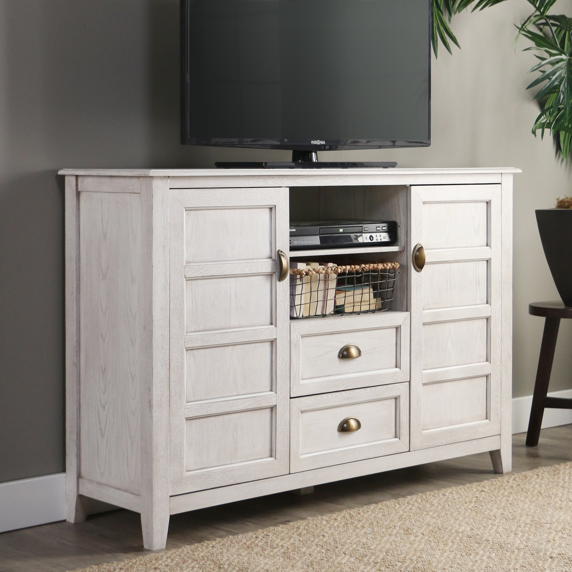 Tv Stand Cabinet 52 Inch Rustic Chic White Console Storage Hallway