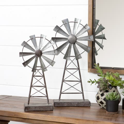 The Gray Barn Jartop Farmhouse Windmill Table Top Decor (Set of 2)
