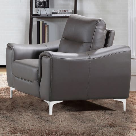 Strick & Bolton Vicente Modern-style Grey Leather Gel Upholstered Living Room Chair