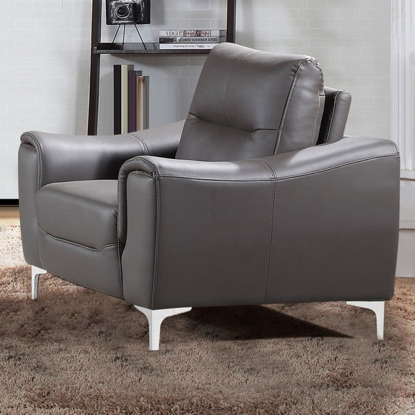 Shop strick bolton vicente modern style grey leather gel - Modern upholstered living room chairs ...
