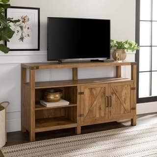 the gray barn kujawa 58 inch barndoor tv stand media console - Entertainment Centers With Bookshelves