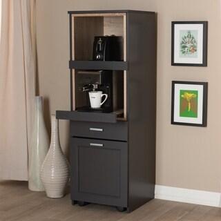 Porch & Den Stacy Dark Grey and Oak Brown Kitchen Cabinet