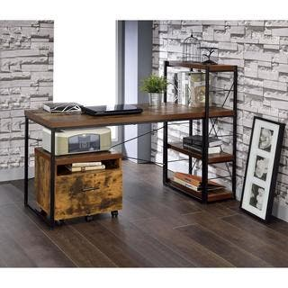 Carbon Loft Edelman Black Metal and Wood Desk