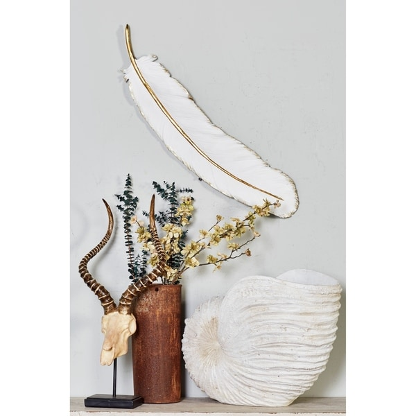 "Extra Large White Feather Wall Decor with Metallic Gold Trim 31"" x 7"". Opens flyout."