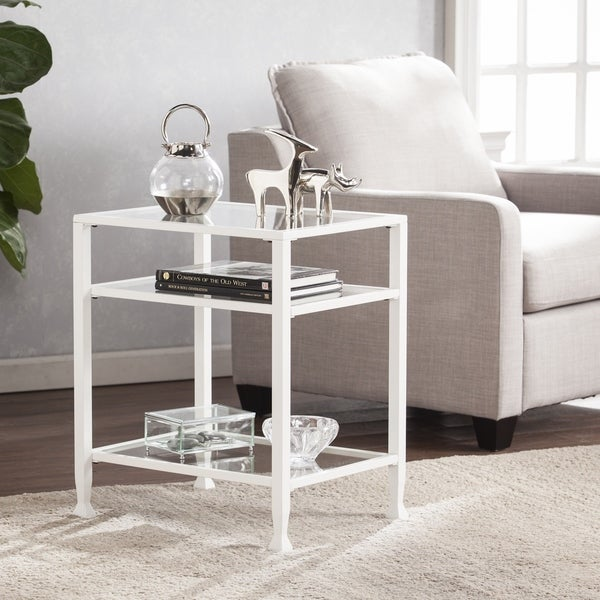 Silver Orchid Price White Metal/ Glass End Table