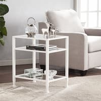 Porch & Den RiNo Brighton White Metal/ Glass End Table