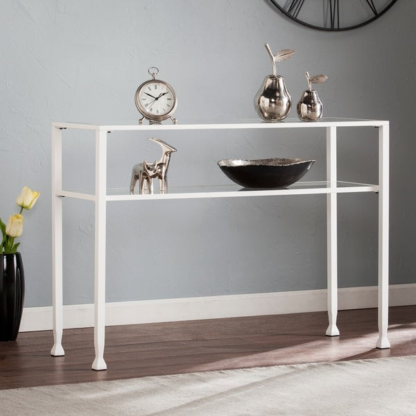 Silver Orchid Price Metal/ Glass Console Table