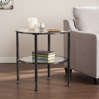 Carbon Loft Glenn Black Metal/ Glass Round End Table