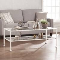 Carbon Loft Glenn White Metal/ Glass Rectangular Open Shelf Cocktail Table
