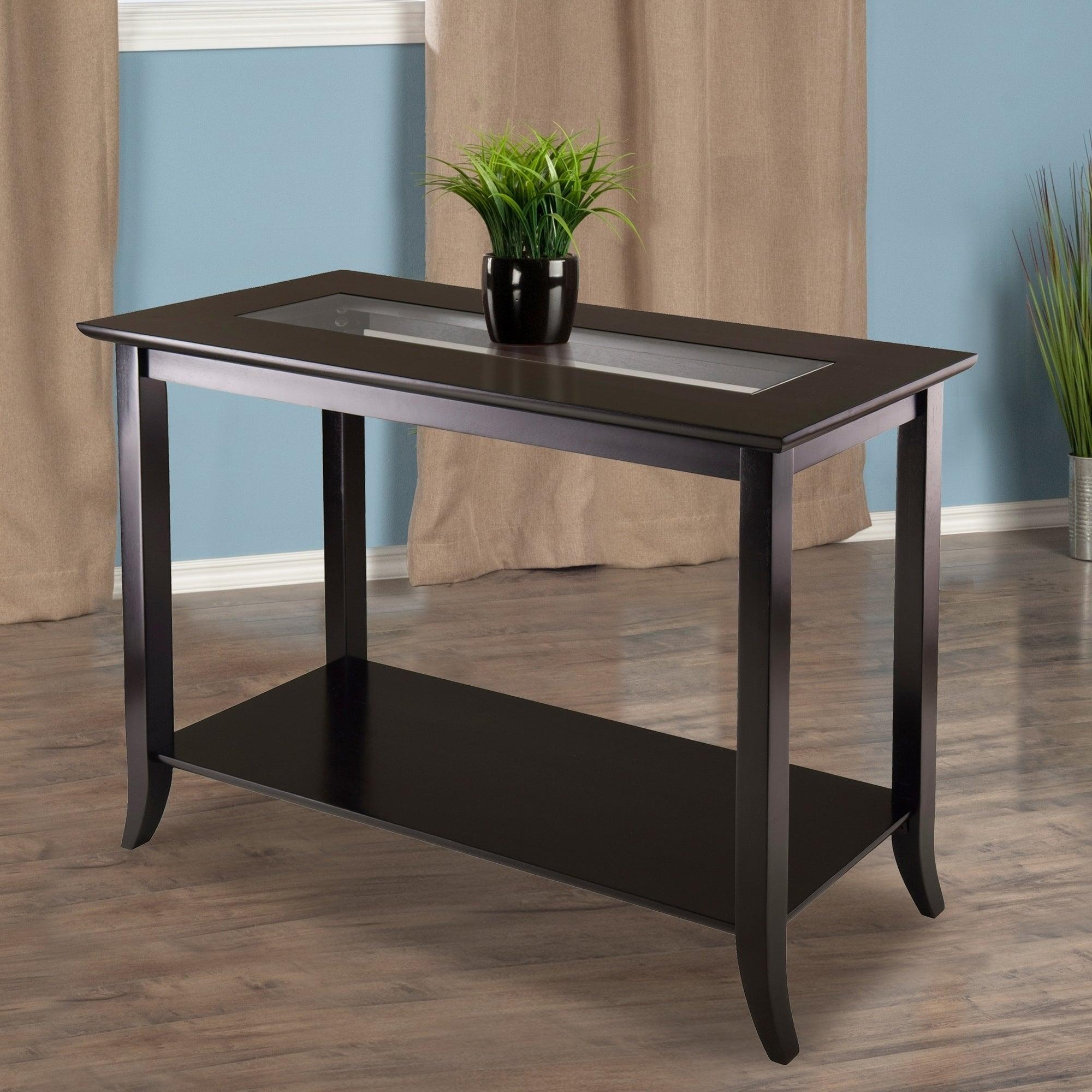 Copper Grove Shasta Trinity Espresso Finish Wood Gl Insert Rectangular Console Table