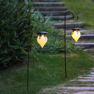 Salem Set of 2 Classical Hanging Solar Lanterns with Shepherd Hooks by Havenside Home