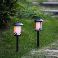 Copper Grove Cannock Set of 2 Classical Hanging Solar Lanterns with Shepherd Hooks