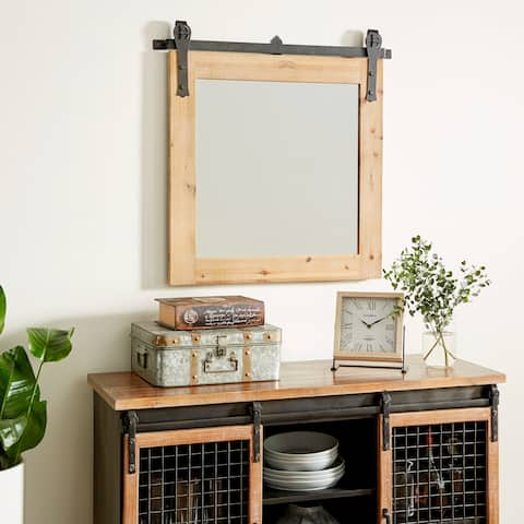 The Gray Barn Jartop Wood Metal Wall Mirror 34-inches wide, 31-inches high - Brown/Black