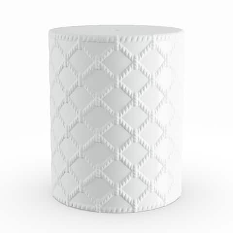Winthrop White Modern Ceramic Garden Stool by Havenside Home