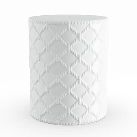 Havenside Home Winthrop White Modern Ceramic Garden Stool