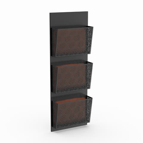 The Curated Nomad Avery Traditional Iron Perforated-Designed Black 3-pocket Wall Letter Holder