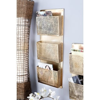 The Curated Nomad Avery Modern Iron Perforated-Designed Gold 3-pocket Wall Letter Holder