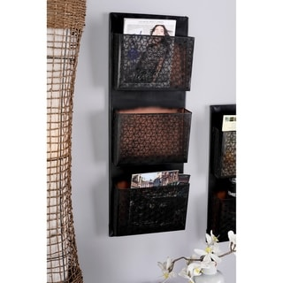 The Curated Nomad Avery Traditional Iron Pierced Black Wall Mounted 3-pocket Letter Holder