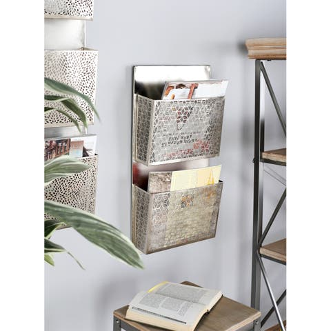 The Curated Nomad Avery Contemporary Iron Pierced Gray Wall Mounted 2-pocket Letter Holder