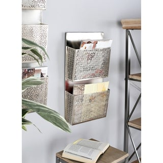 Palm Canyon Avery Contemporary Iron Pierced Gray Wall Mounted 2-pocket Letter Holder