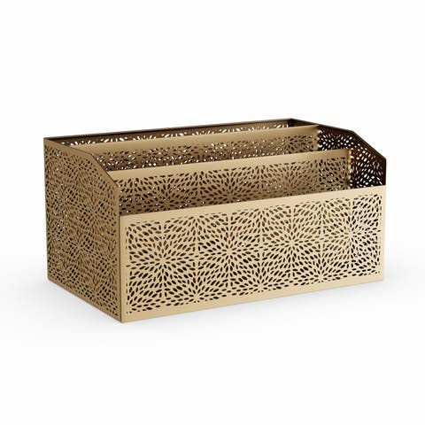 The Curated Nomad Avery Modern Iron Perforated Design Rectangular 3-compartment Letter Holder