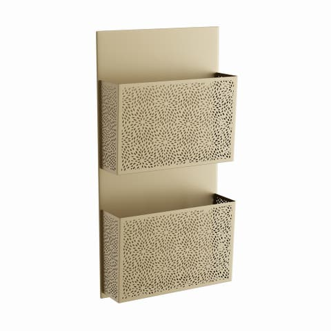 The Curated Nomad Avery Contemporary Iron Perforated-Designed Gray 2-pocket Wall Letter Holder