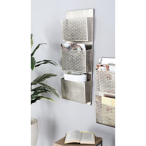 The Curated Nomad Avery Contemporary Iron Pierced Gray Wall Mounted 3-pocket Letter Holder