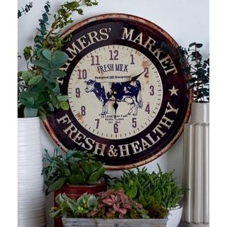 The Gray Barn Jartop Set of 2 Farmhouse Iron Round Wall Clocks