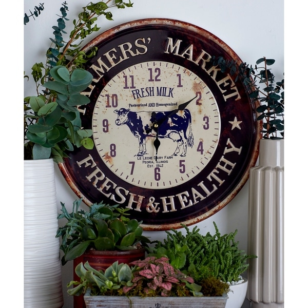 The Gray Barn Jartop Set of 2 Farmhouse Iron Round Wall Clocks
