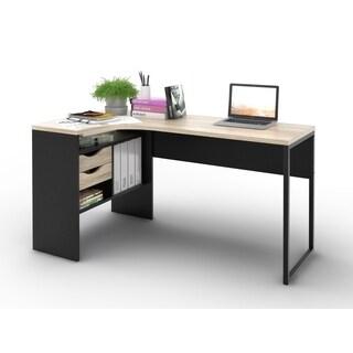 Clay Alder Home Oakland Matte Black/ Oak 2-drawer L-shaped Desk
