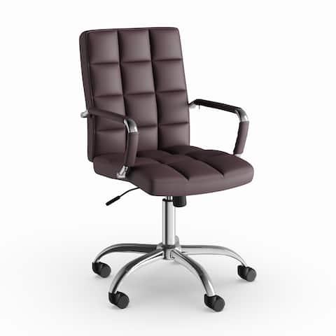 Carbon Loft Derrick Adjustable Black Leather Office Chair