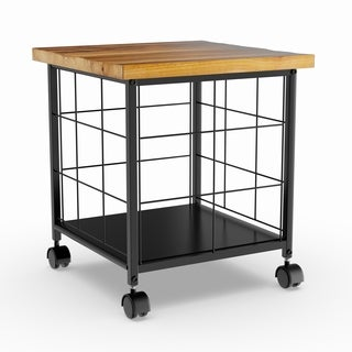 Pine Canopy Japonica Wood and Metal Rolling File Cabinet