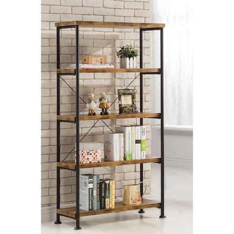 """Carbon Loft Dumont Industrial Antique Nutmeg 4-shelf Bookcase - 31.50"""" x 14.25"""" x 63"""""""