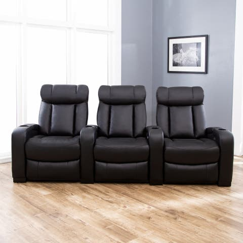 Abbyson Townsend 3 Piece Black Leather Power Reclining Theatre Set
