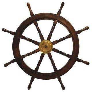 The Curated Nomad Biltmore Large Hardwood Nautical Ship Wheel with Brass Center