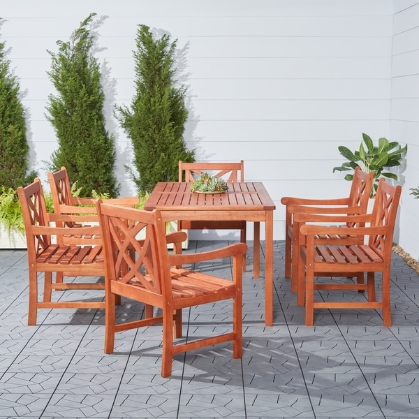 Havenside Home Surfside Eco-friendly 7-piece Eucalyptus Wood Outdoor Dining Set
