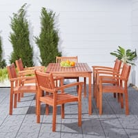 Havenside Home Surfside 7-piece Eucalyptus Wood Stacked-chair Outdoor Dining Set