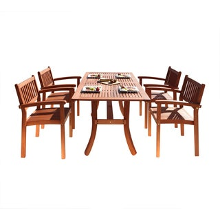 Havenside Home Surfside 5-piece Eucalyptus Wood Outdoor Dining Set with Curved Table