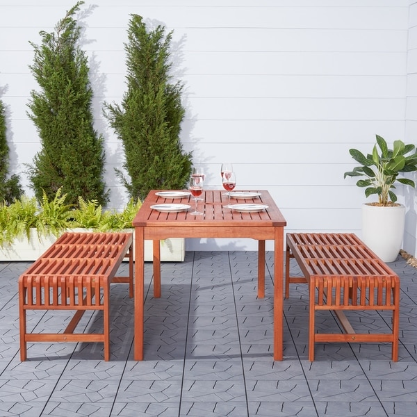 Malibu Eco-Friendly 3-Piece Wood Outdoor Dining Set with Backless Benches. Opens flyout.